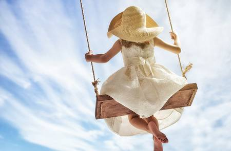 61034051-happy-child-girl-on-swing-in-summer-day
